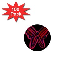 Red butterfly 1  Mini Buttons (100 pack)