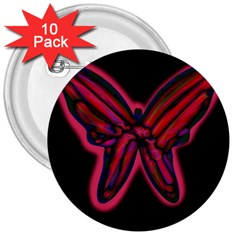 Red butterfly 3  Buttons (10 pack)