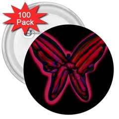 Red butterfly 3  Buttons (100 pack)