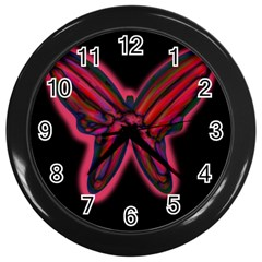 Red butterfly Wall Clocks (Black)