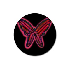 Red butterfly Magnet 3  (Round)