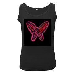 Red butterfly Women s Black Tank Top