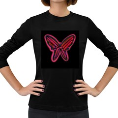 Red butterfly Women s Long Sleeve Dark T-Shirts