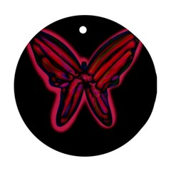 Red butterfly Round Ornament (Two Sides)