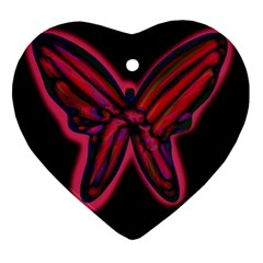 Red butterfly Heart Ornament (2 Sides)