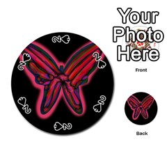 Red butterfly Playing Cards 54 (Round)