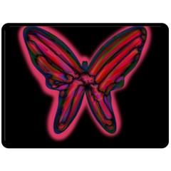 Red butterfly Fleece Blanket (Large)