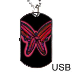 Red butterfly Dog Tag USB Flash (One Side)