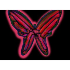 Red butterfly Birthday Cake 3D Greeting Card (7x5)