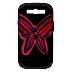 Red butterfly Samsung Galaxy S III Hardshell Case (PC+Silicone)