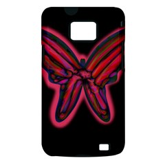 Red butterfly Samsung Galaxy S II i9100 Hardshell Case (PC+Silicone)