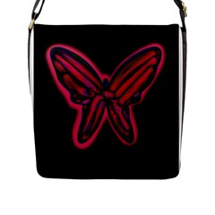 Red butterfly Flap Messenger Bag (L)