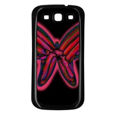 Red butterfly Samsung Galaxy S3 Back Case (Black)