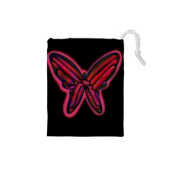 Red butterfly Drawstring Pouches (Small)