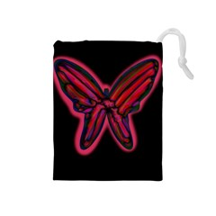Red butterfly Drawstring Pouches (Medium)
