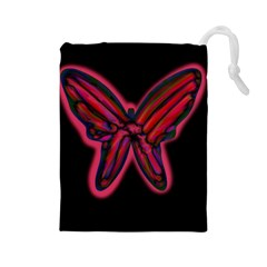 Red butterfly Drawstring Pouches (Large)