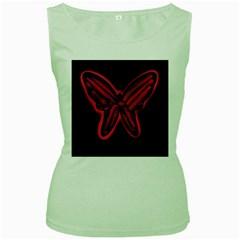 Red butterfly Women s Green Tank Top