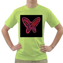Red butterfly Green T-Shirt