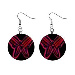 Red butterfly Mini Button Earrings