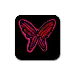 Red butterfly Rubber Square Coaster (4 pack)