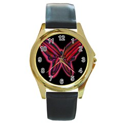 Red butterfly Round Gold Metal Watch