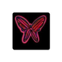 Red butterfly Square Magnet