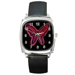Red butterfly Square Metal Watch