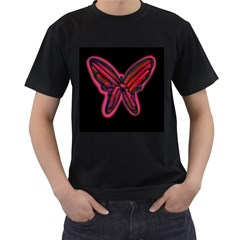 Red butterfly Men s T-Shirt (Black) (Two Sided)