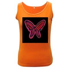 Red butterfly Women s Dark Tank Top