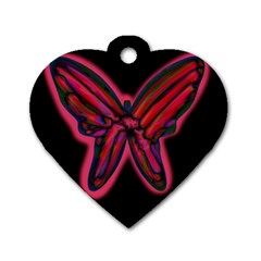 Red butterfly Dog Tag Heart (Two Sides)