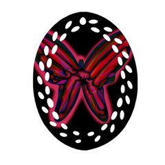 Red butterfly Oval Filigree Ornament (2-Side)
