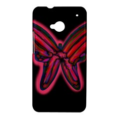 Red butterfly HTC One M7 Hardshell Case