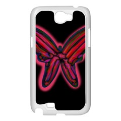 Red butterfly Samsung Galaxy Note 2 Case (White)