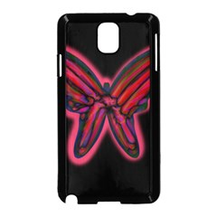 Red butterfly Samsung Galaxy Note 3 Neo Hardshell Case (Black)