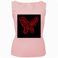 Red butterfly Women s Pink Tank Top