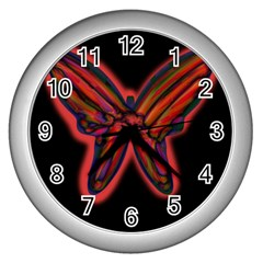 Red butterfly Wall Clocks (Silver)