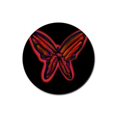 Red butterfly Rubber Round Coaster (4 pack)