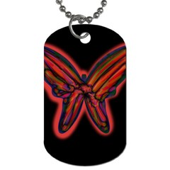 Red butterfly Dog Tag (One Side)