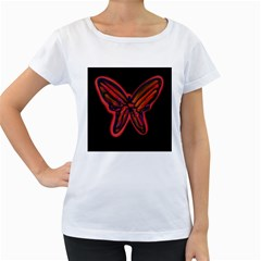 Red butterfly Women s Loose-Fit T-Shirt (White)