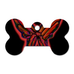 Red butterfly Dog Tag Bone (Two Sides)