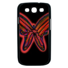 Red butterfly Samsung Galaxy S III Case (Black)