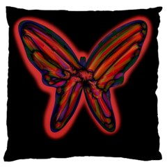 Red butterfly Large Cushion Case (One Side)