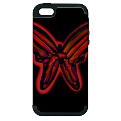 Red butterfly Apple iPhone 5 Hardshell Case (PC+Silicone)