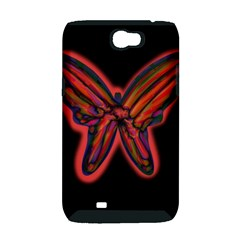 Red butterfly Samsung Galaxy Note 2 Hardshell Case (PC+Silicone)