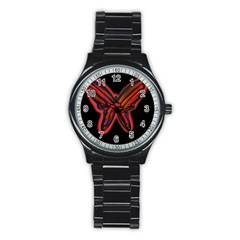 Red butterfly Stainless Steel Round Watch