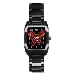 Red Butterfly Stainless Steel Barrel Watch