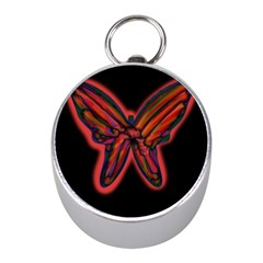 Red butterfly Mini Silver Compasses