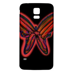 Red butterfly Samsung Galaxy S5 Back Case (White)