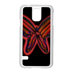 Red butterfly Samsung Galaxy S5 Case (White)