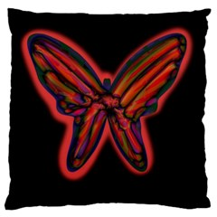 Red butterfly Large Flano Cushion Case (Two Sides)